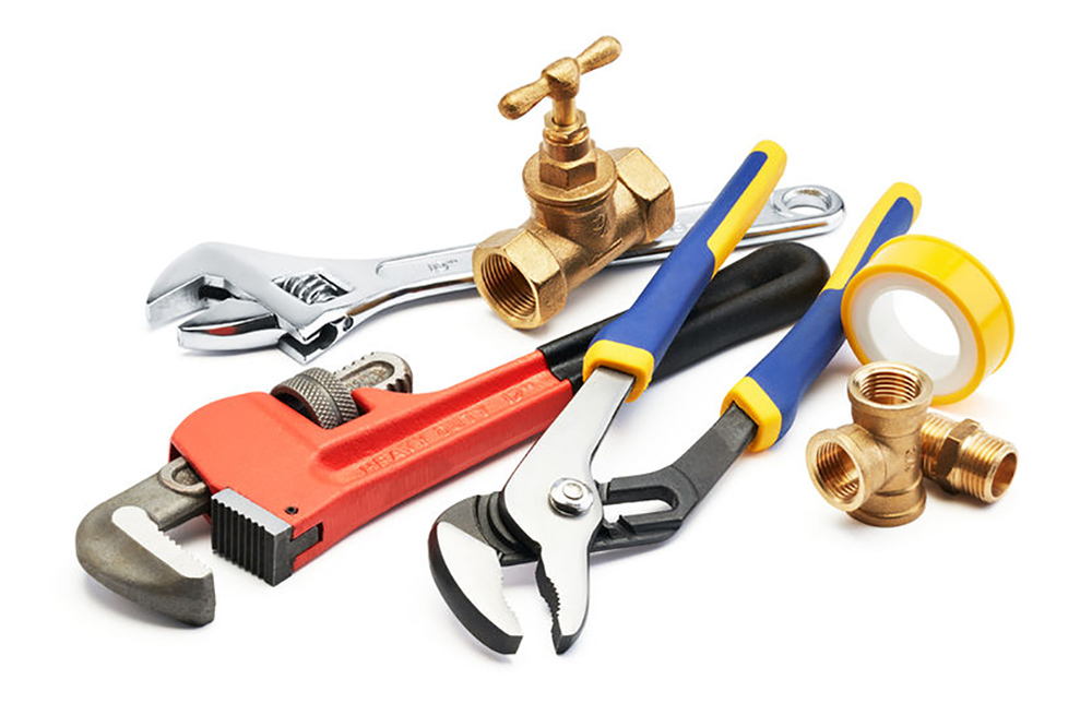 43950021 – various type of plumbing tools against white background